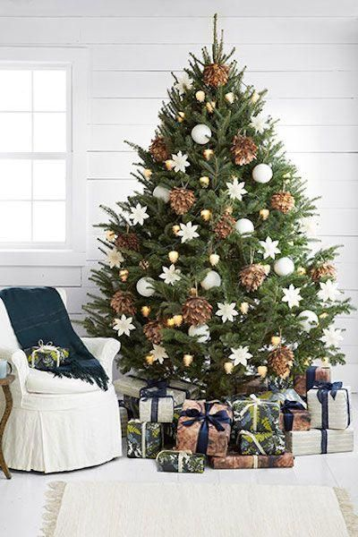 Love this classic pinecone and white snowflake and glass ball ornament bedecked Christmas tree style idea -- 10 Best Christmas Trees | Camille Styles