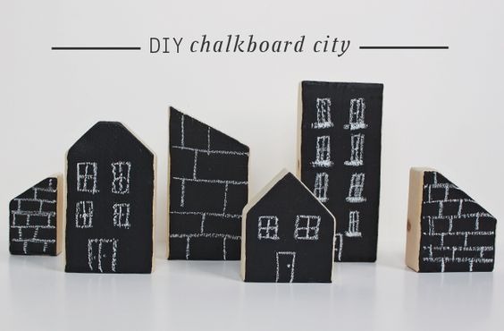 DIY WoodenBlock Chalkboard City - perfect backdrop for legos, cars, super heros, GI Joes, etc.