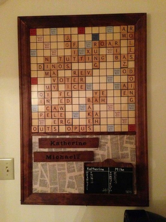 Magnetic scrabble board!  I designed the board in photoshop, printed it poster-sized at Walgreens, mounted on sheet metal, and cut molding to make the frame.  I tore pages from an old dictionary and mod podged them to the bottom half of the board, where the tile tile rack and tile box go.
