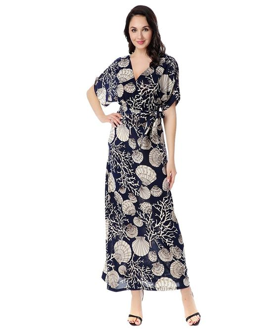 Preferhouse Womens Maxi Dress Plus Size Short Sleeve Navy Blue ...