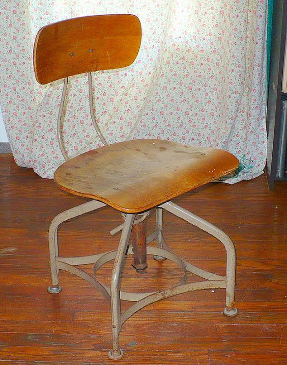 Mid Century Drafting Stool Chair by GrandmasMedicalBills on Etsy, $75.00