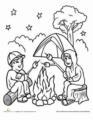 Campfire Coloring Page Coloring The Two And Places