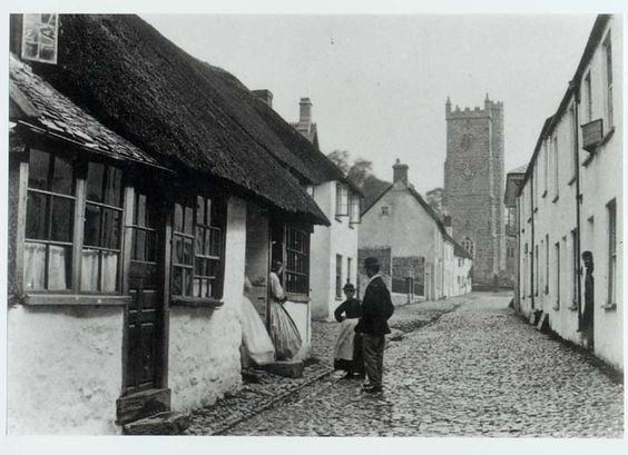 Cobblestones and thatched roof c1890s