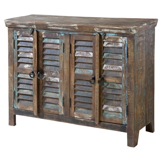 Hand Painted Wood Cabinet With 4 Louvered Doors Seaside