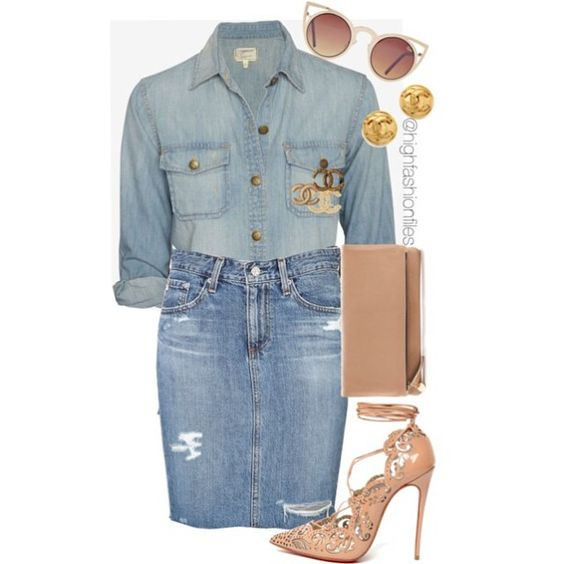 """Denim on Denim look with chanel brooches. This look has been seen on @beyonce @kimkardashian and #Rihanna. So i decided to put my styling on this look …"""