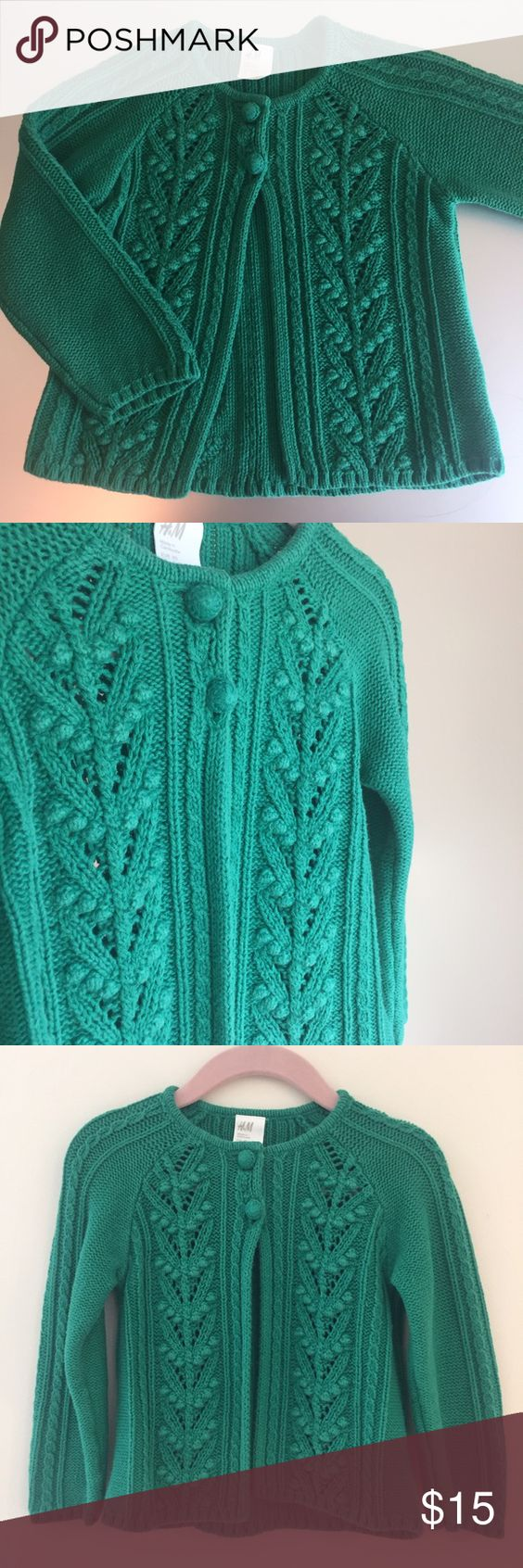 H&M Cable Knit Baby Cardigan H&M Cable Knit Baby Cardigan in green. 2 front knit covered buttons. 100% Cotton. Gently used and in Excellent Condition. H&M Shirts & Tops Sweaters
