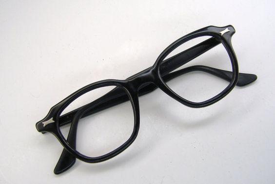 Vintage 60s Mens Black Horn Rim Eyeglasses