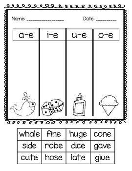 Pin On For School Silent e worksheets for kindergarten