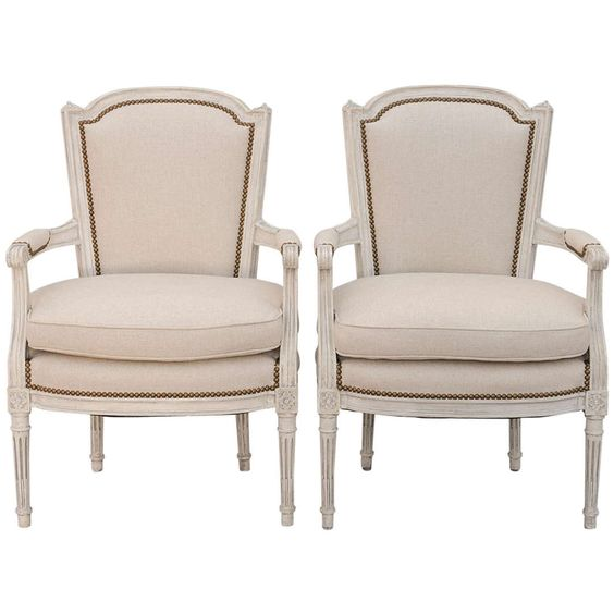 Pair of Louis XVI Style Painted Fauteils   via @The_Highboy at www.thehighboy.com