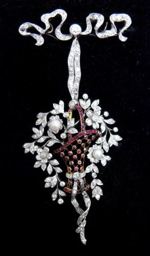 Ruby, diamond and pearl basket brooch.