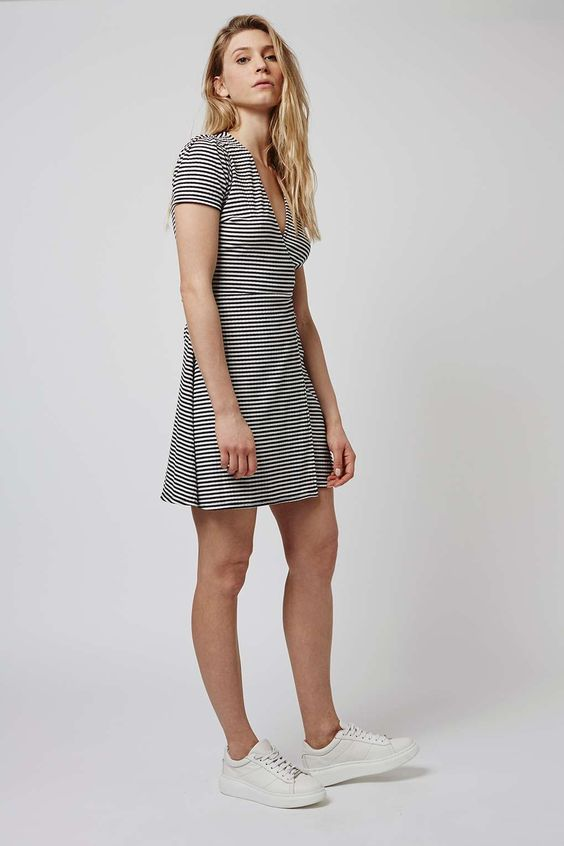 Stripe Wrap Skater Dress
