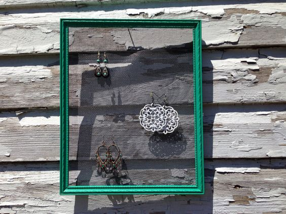 Vibrant emerald green solid wood jewelry frame display made from upcycled picture frame on Etsy, $8.00