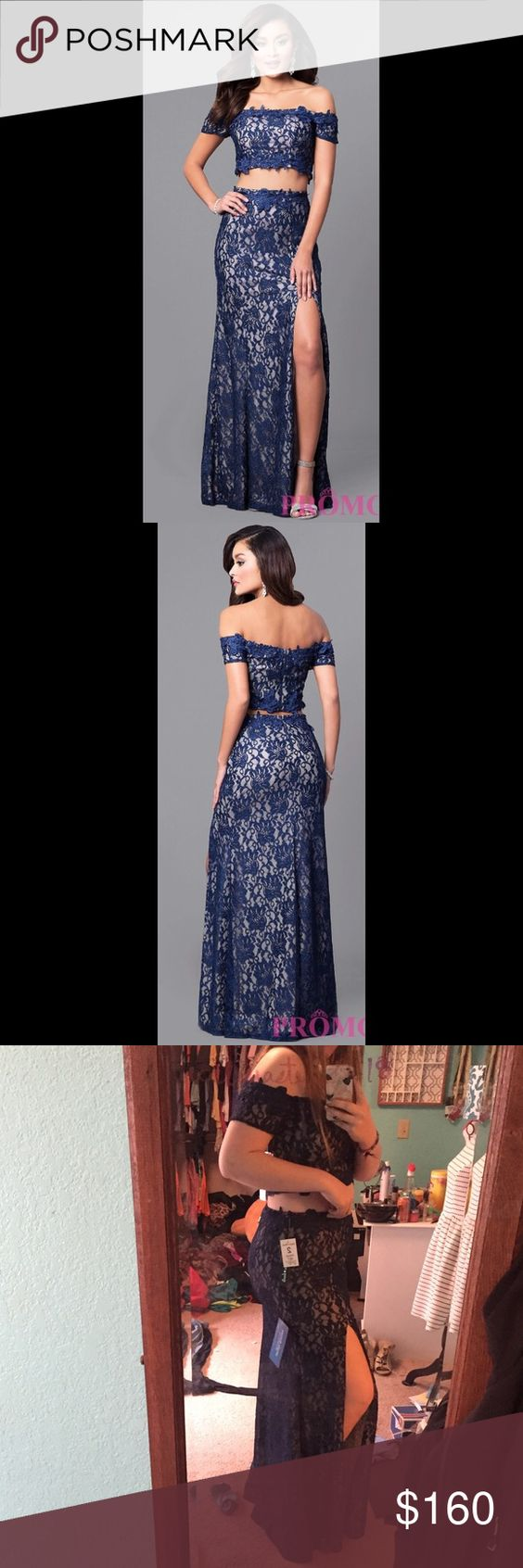 Two piece prom dress nwt blues prom girl dresses and lace