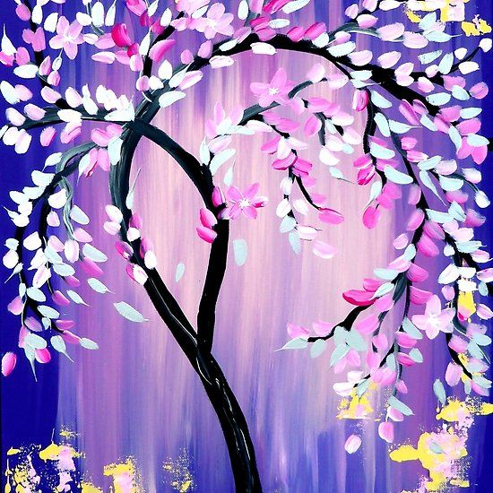 Purple And Pink Japanese Cherry Blossom Tree Painting By Cathy