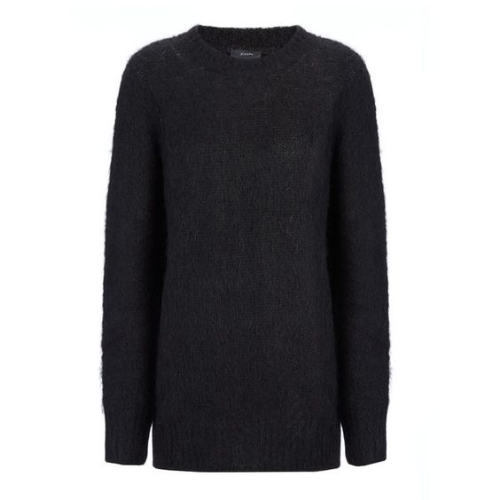 Joseph Mohair Knit Sweater in BLACK (£105) ❤ liked on Polyvore featuring tops, sweaters, black, joseph sweaters, knit sweater, knit tops, black sweater and black knit sweater