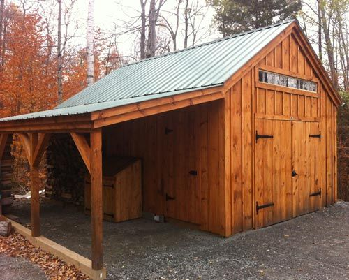 14' × 20' One Bay Garage. Optional  8' × 20' overhang & 8 foot double barn doors. Beautiful. Available as kits (estimated assembly time - 2 people, 30 hours), diy plans $39.95, or a custom fully assembled garage. #rusticgarages http://jamaicacottageshop.com/shop/one-bay-garage/ http://jamaicacottageshop.com/wp-content/uploads/pdfs/pdf14x20onebaygarage.pdf