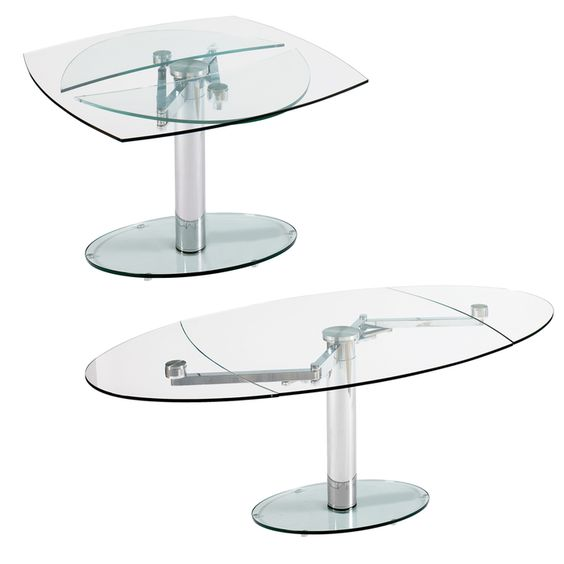 Luca glass extending dining table clear dining tables for Extendable glass dining table