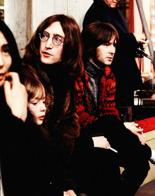 Yoko, Julian, John and Eric Claption during the Stones' Rock and Roll Circus, December 1968.
