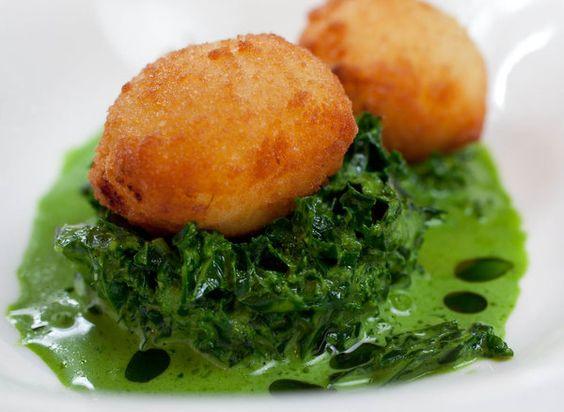 Salt cod croquettes with creamed kale, horseradish, tomato fondue, as ...