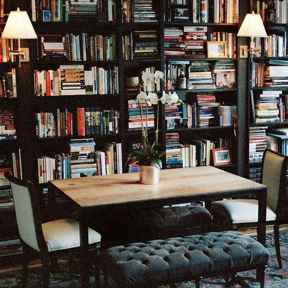 Ideen für Haus Bibliothek natürliches sonnenlicht fenster