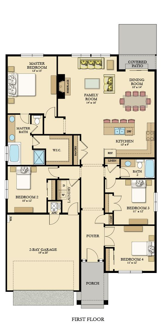 The Endicott Floorplan Shows The Great Layout Of This Ranch Style Home With Four Bedrooms A Great Room With Gas Fire New House Plans House Plans Floor Plans