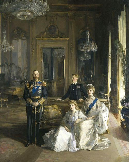 """The Royal Family at Buckingham Palace"" (1913) by Sir John Lavery (1856-1941)."