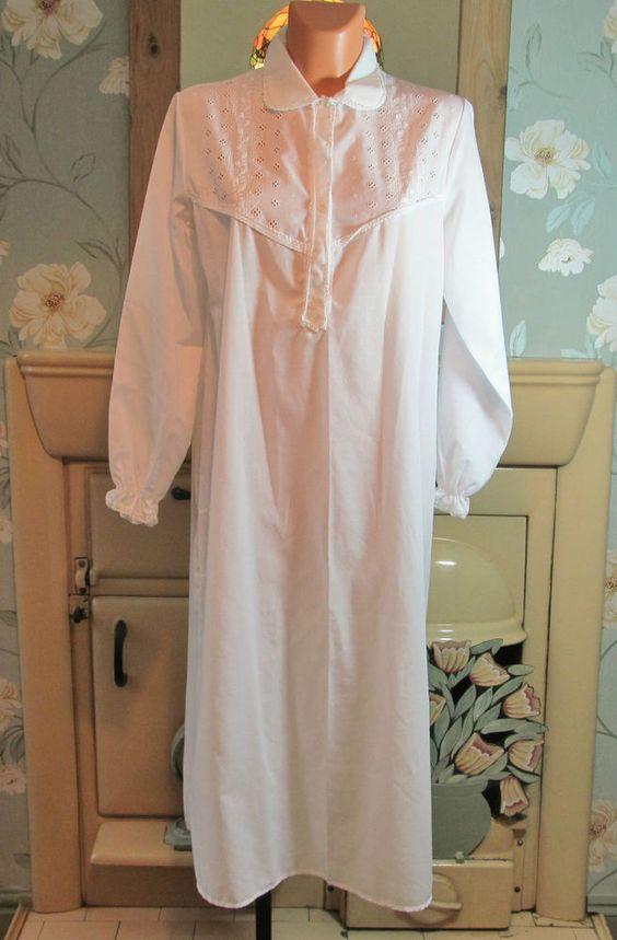 Vtg white Victorian style sissy semi sheer nightgown nightshirt L/XL R13457