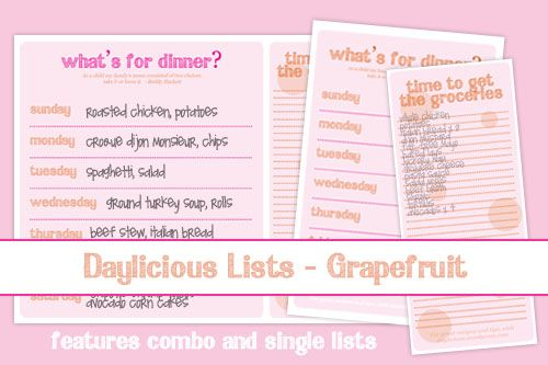 free menu planning printables and grocery lists.