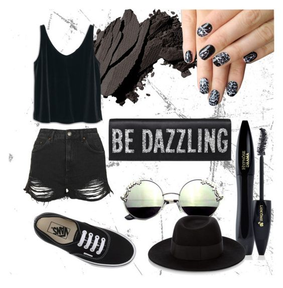 """""""Be dazzling ✨"""" by spacecatcosmo ❤ liked on Polyvore featuring Bobbi Brown Cosmetics, Lancôme, Topshop, Maison Michel, MANGO, alfa.K, Vans, cute, black and bedazzling"""