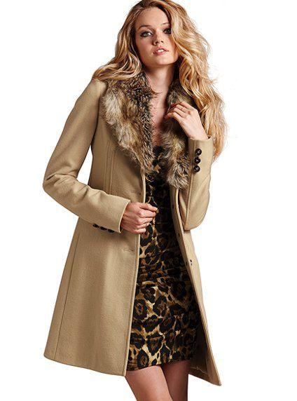 Faux-Fur Collar Coat in Nude - Victoria&39s Secret | FABULOUS COAT