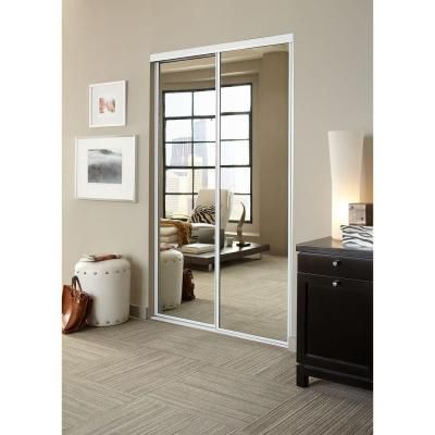 Contractors Wardrobe 48 in. x 81 in. Concord Mirrored White Aluminum Interior Sliding Door - CON-4881WHN2R - The Home Depot