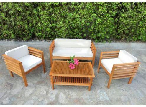 salon de jardin teck mobilier jardin