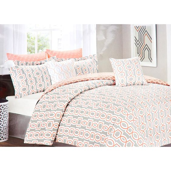 Nice Geo Print Bedding #9: Add A Pop Of Color To Your Bedroom Using This Coral And Grey Geo Print  Bedding Set. Vibrant Designs Will Turn Any Bedroom Or Guestroom Into An  Artistic ...