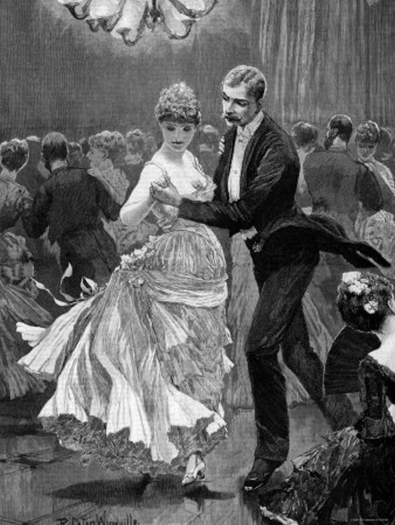 """Participants of New York City's high society dancing at a fancy dress ball, that took place during the """"social season""""  These social events were held during America's Gilded Age, from the c.1870s to c.1900. ~ {cwlyons}"""