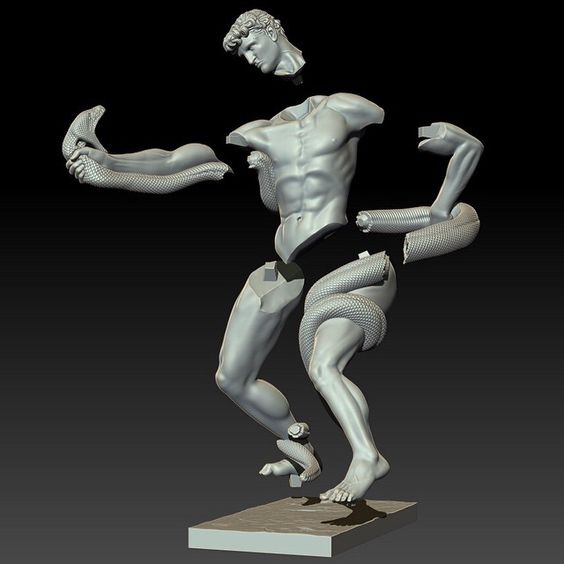 3d model of our first project: Athlete Wrestling with a Python.