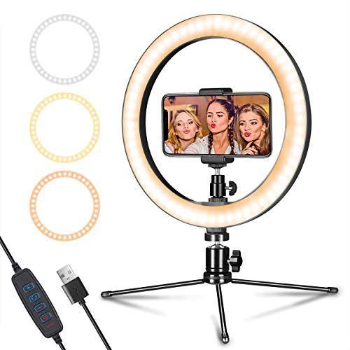 10 Selfie Ring Light 3 Light Modes /& 10 Brightness Level for YouTube Video,TikTok,Live Stream,Makeup,Photography RE LED Ring Light with 2Tripod Stand and 2Phone Holder