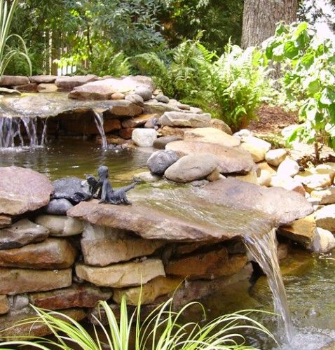 Idea for sw corner of the yard cobblestone water feature diy pinterest gardens pond - Corner pond ideas ...