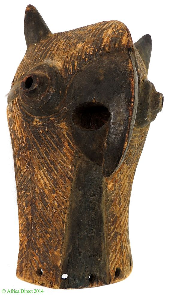 Luba-Songye Kifwebe Mask Owl DR Congo, Africa.  A rare striated face mask in the form of an animal, especially a owl  found among the Luba. Such masks were especially found among the Eastern Luba.  The striations recall the Songye style of mask. The animal  form of this mask and its small size are from the Luba.
