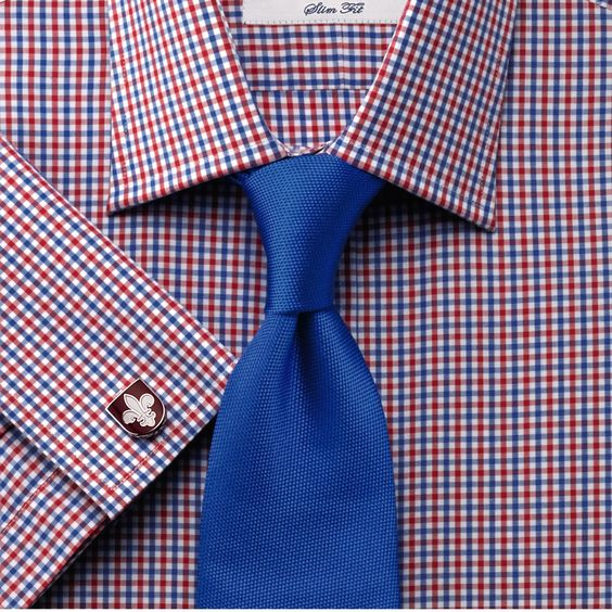 Red and royal gingham check slim fit shirt mens dress for Mens dress shirts charles tyrwhitt