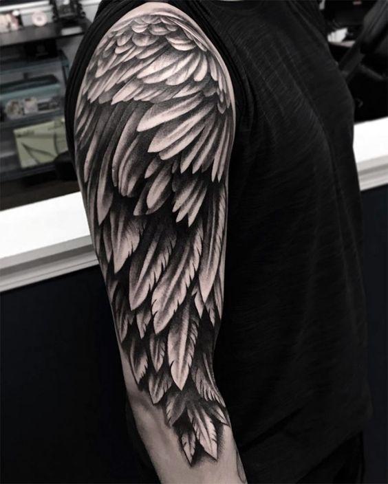 Tattoo arm flügel männer Nacken tattoo