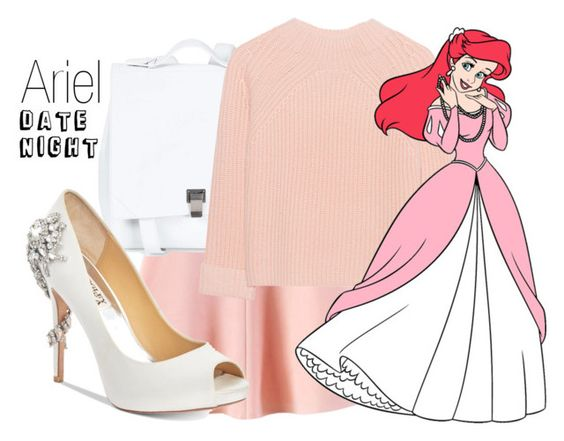 """""""Ariel~ DisneyBound"""" by basic-disney ❤ liked on Polyvore featuring WithChic, Proenza Schouler, iHeart and Badgley Mischka"""