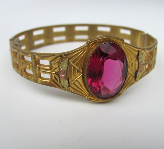 SALE SALE  antique victorian bracelet  vintage pink rhinestone wide filigree bangle  fuchsia stones nouveau hinged signed gold  e34. $95.00, via Etsy.