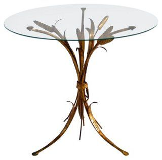 Gilded Tole Wheat   Accent Table
