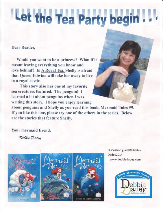 Author letter for A Royal Tea (Mermaid Tales #9 from Simon and Schuster.  Author-Debbie Dadey www.debbiedadey.com