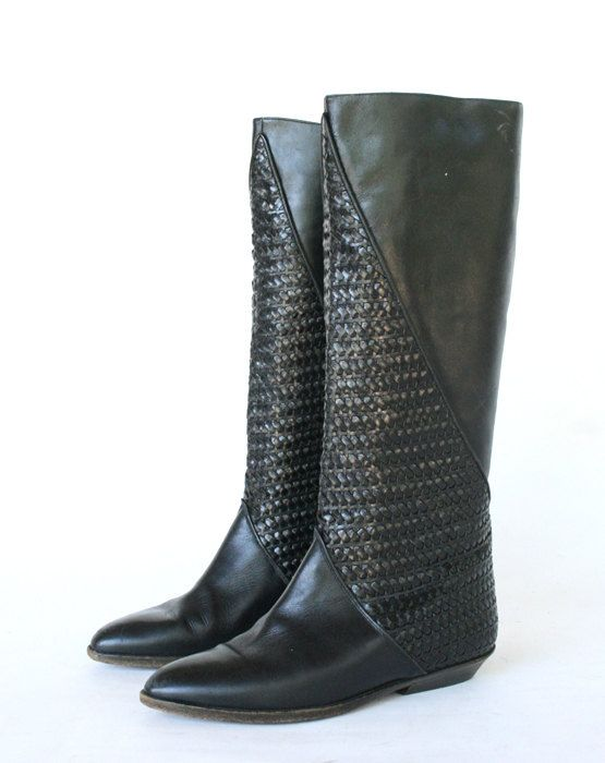 woven black boots