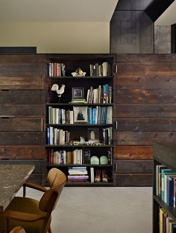 bookshelf in house by Olson Kundig Architects