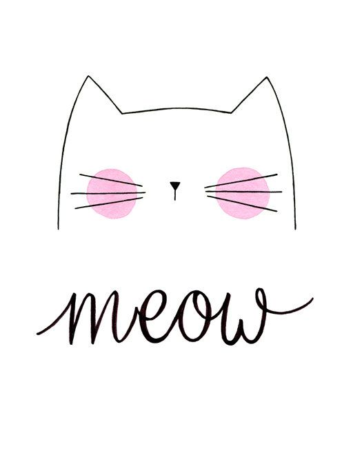 meow cat print by morningswithcoffee pinteres