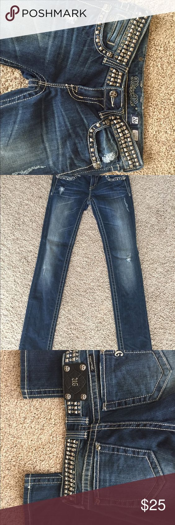 Miss me jeans size 26 Worn only a few times with all jewels and stones.These are size 26 Missme skinny jeans. Like New Miss Me Jeans Skinny