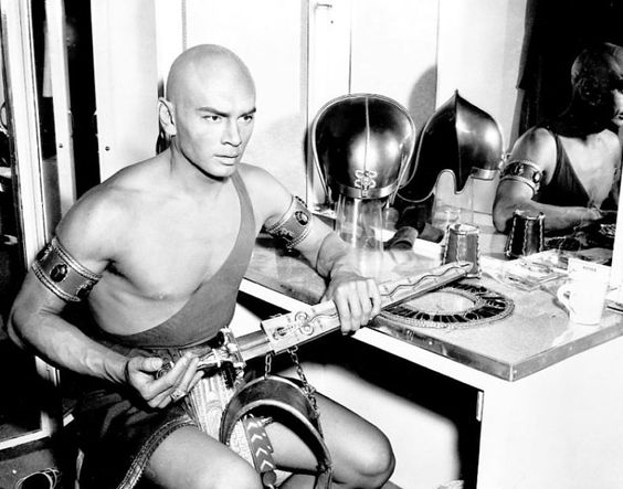 Yul Brynner and the accoutrements of the pharaoh of The Ten Commandments