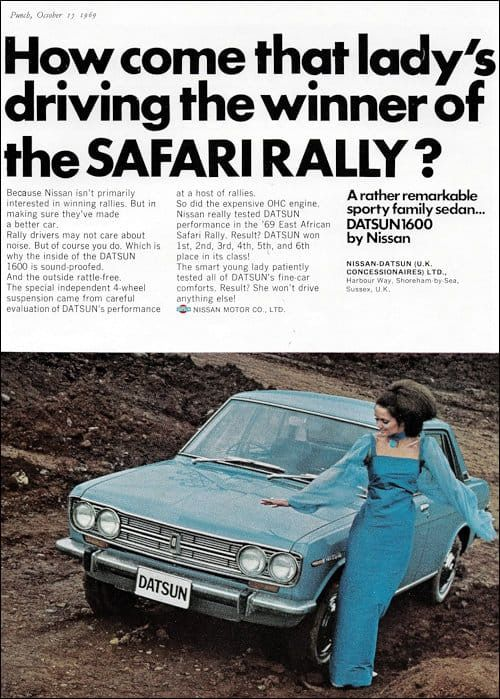 Datsun 1600 Advert Datsun 1600 Datsun Rally